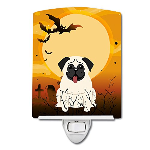 Caroline's Treasures BB4270CNL Halloween Pug Cream Ceramic Night Light, 6x4x3, Multicolor ()
