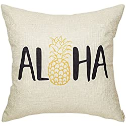 "Fjfz Aloha Cute Pineapple Summer Welcome Seasonal Quote Tropical Sign Cotton Linen Home Decorative Throw Pillow Case Cushion Cover with Words for Sofa Couch, 18"" x 18"""