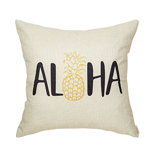 Fjfz Spring Summer Decor Aloha Cute Pineapple Welcome Seasonal Decoration Tropical Farmhouse Sign Cotton Linen Home Decorative Throw Pillow Case Cushion Cover for Sofa Couch, 18