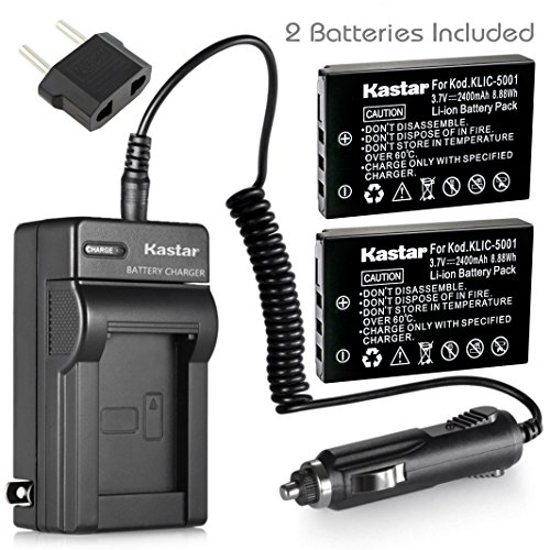 Dx7440 Charger - Kastar New Charger + 2 Battery for Kodak KLIC-5001 and Easyshare P712 P850 P880 Z730 Z760 Z7590 DX6490 DX7440 DX7590 DX7630 Sanyo DB-L50 DMX-WH1 HD1010 FH11 HD2000 VPC-WH1 HD2000 HD1010 HD1000