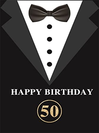 Leowefowa 3x5ft Happy 50th Birthday Backdrop Men S Suit Backdrops For Photography Father S Day Party Wallpaper Vinyl Photo Background Studio Props