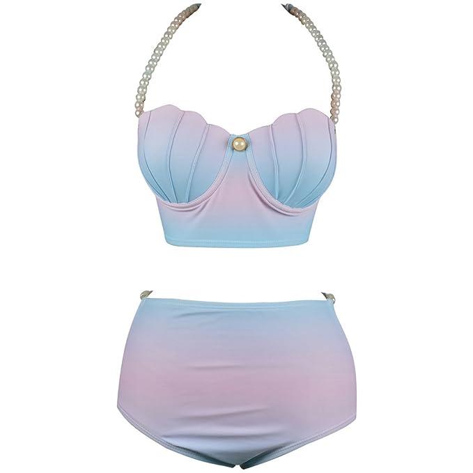 6b87a167e89 Beachkini Mujer Concha Forma Bikini Cintura Alta Gradient Color Traje De  Baño