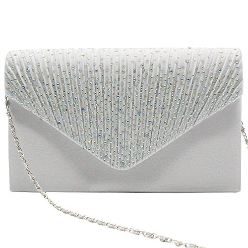 Bagsilver Party Handbag Wiwsi white Purse Satin Clutch Lady Color Pleated diamante Various XqwvwaZ