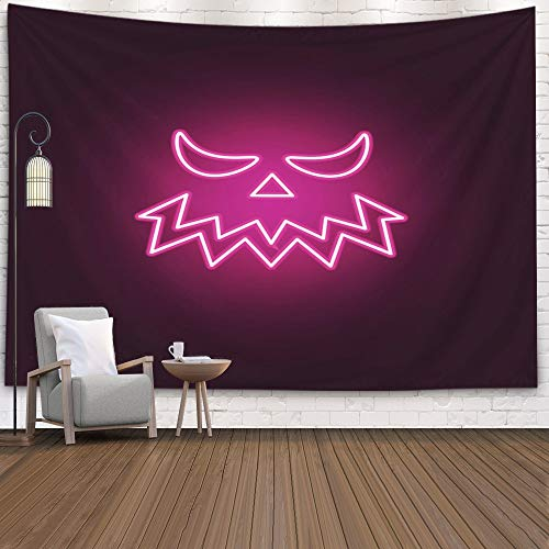 Tapestry Wall Hanging,Douecish Decoration Carved Halloween Pumpkin Jack Lantern Neon Icon Elements of Set Simple Graphics O for Bedroom Living Room Decor Wall Hanging Tapestry 80X60 Inch,Purple Yellow -