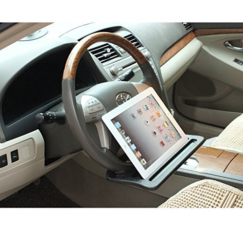 Jeasun Vehicle Portable Desk, Steering Wheel Multi-use Car Tray Stand/Car Food Eating Table/IPad Notebook Holder, Black