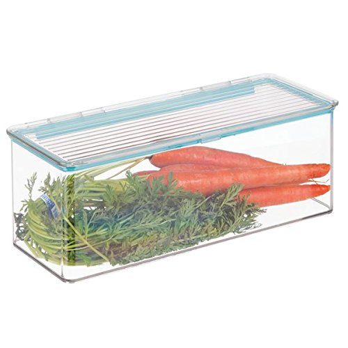 mDesign Contenitore ermetico con coperchio incernierato – Contenitore per alimenti ideale come contenitore frigo o per dispensa – trasparente MetroDecor Others