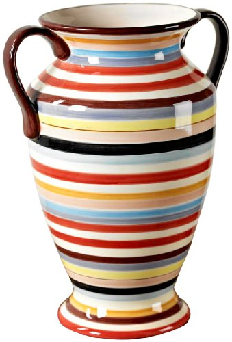 Tabletop Lifestyles 13-Inch Tall Vase with Handle, Sedona Stripe