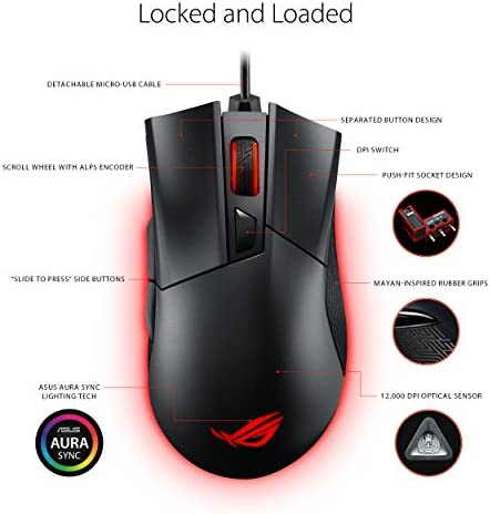 ASUS ROG Gladius II Origin Wired USB Optical Ergonomic FPS Gaming Mouse featuring Aura Sync RGB, 12000 DPI Optical, 50G Acceleration, 250 IPS sensors and swappable Omron switches,Black 51vdgZMZJcL
