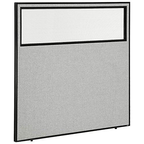 60-1/4W x 60H Office Partition Panel with Partial Window, Gray