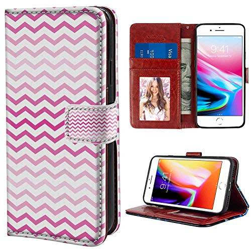 - iPhone 7 Plus, iPhone 8 Plus Wallet Case, Pale Pink Chevron Zigzag Pattern with Twisted Parallel Lines in Vibrant Tones Graphic Magenta White PU Leather Folio Case with Card Holder and ID Coin Slot
