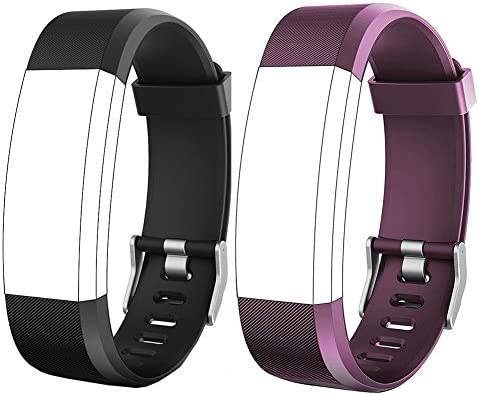 REDGO ID115Plus HR Replacement Band, Fitness Tracker Straps for ID115 Plus HR Bracelet, ID115HR Plus Pedometer, Not for ID115 or ID115HR, Black, Purple 2
