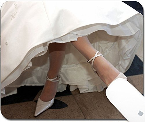 Luxlady Gaming Mousepad Bride in traditional white dress crossing her legs 9.25in X 7.25in IMAGE: 3522526