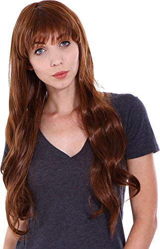 [Simplicity Women Long Curly Party Costume Cosplay Wigs, Light Brown] (Little Mermaid Wig For Adults)