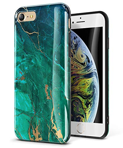 GVIEWIN Marble iPhone 8 Case/iPhone 7 Case, Ultra Slim Thin Glossy Soft TPU Rubber Gel Silicone Phone Case Cover Compatible iPhone 7/8 (4.7 inch) (Green/Gold)