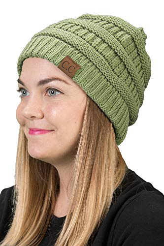 Funky Junque H-6020a-77 Solid Ribbed Beanie - Green Tea