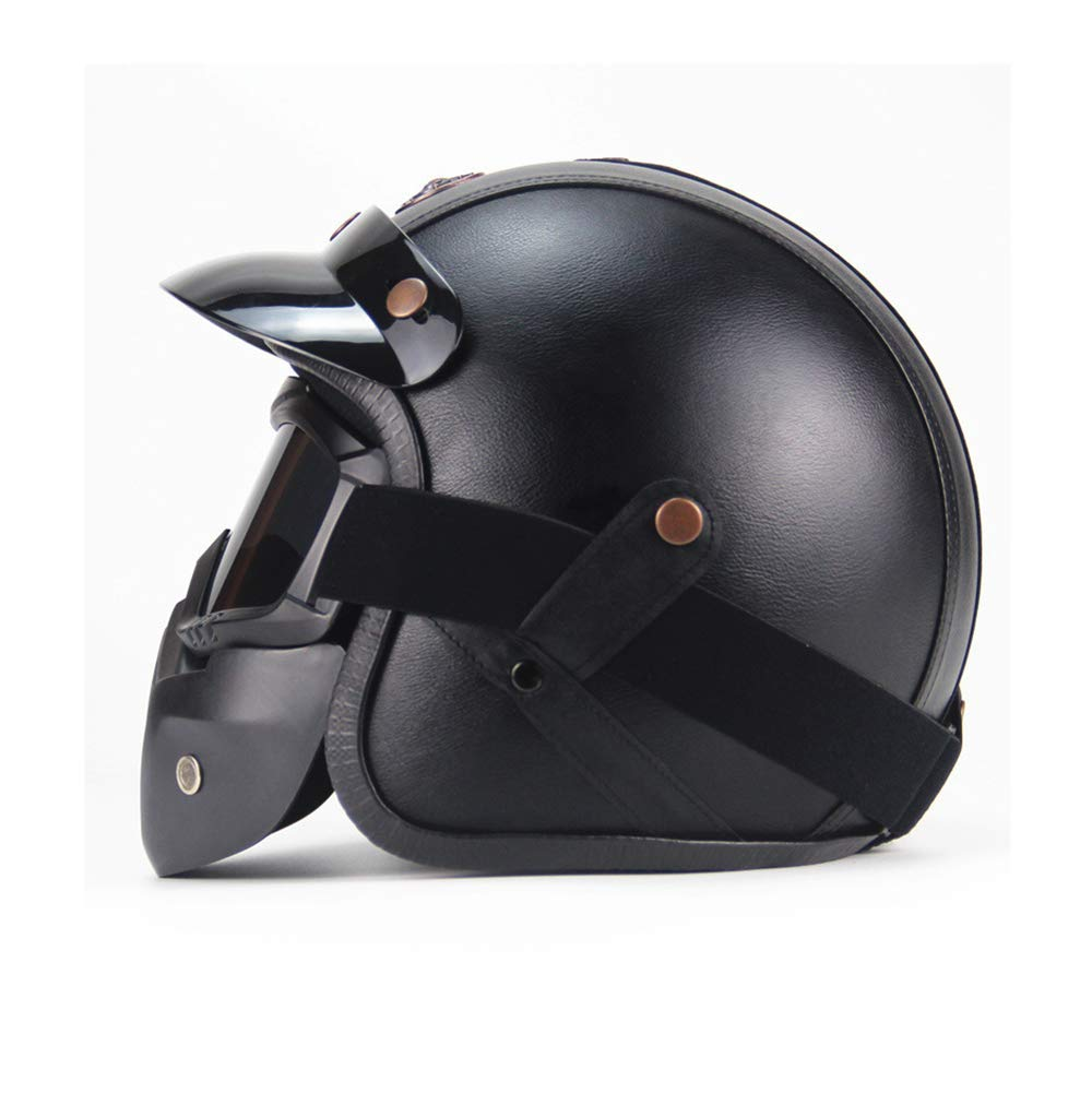 Retro Harley Motorcycle Moped Cruise Touring Travellers Helmet Open Face Jet-with Goggle Mask/&Visor,A,S