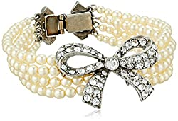Pearl and Crystal Ribbon Bracelet