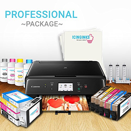 Edible Printer System - Icinginks Profesional Package - Comes with Edible Cartridges, Icing Sheets, Cleaning Cartridges, Refill Inks- Canon Edible Printer for cakes by Icinginks