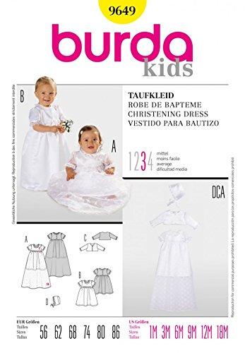 Burda Babies Sewing Pattern 9649 - Christening Dress, Bolero & Hat ...