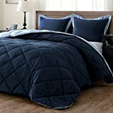 King Size Comforter Sets downluxe Lightweight Solid Comforter Set (King) with 2 Pillow Shams - 3-Piece Set - Blue and Sapphire - Hypoallergenic Down Alternative Reversible Comforter