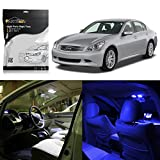 Partsam 2003-2007 Infiniti G35 Coupe Blue Interior Lights LED Package Deal(7 Pieces)+ Gift Tool