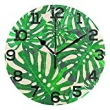 Dozili Tropical Palm Pattern Round Wall Clock Arabic Numerals Design Non Ticking Wall Clock Large for Bedrooms,Living Room,Bathroom