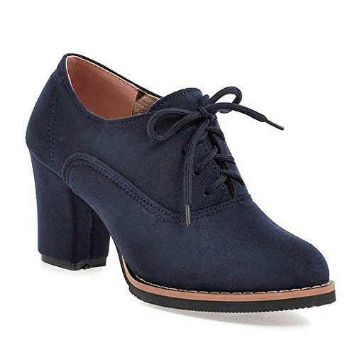 Womens Short Boots Ladies Low Heel Block Ladies Lace Up Ankle Boots Mary Jane Shoes Blue