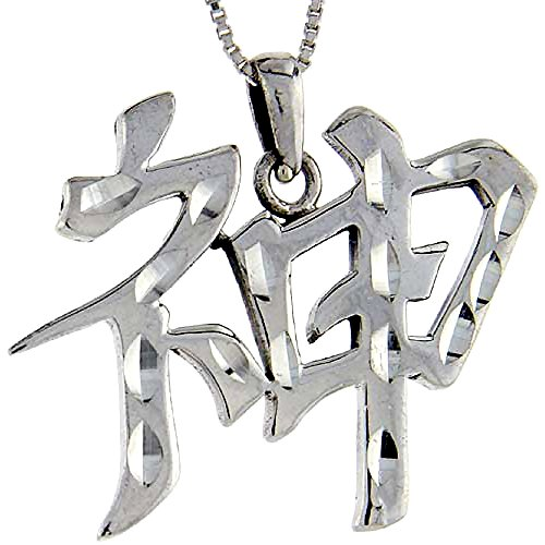 Sterling Silver Chinese Character for SPIRITS Pendant, 1 1/16 inch tall (Spirits Of The Chinese Characters)