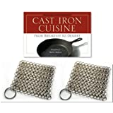 "Chainmail Scrubber Package - Two Knapp Made CM Scrubbers for Cast Iron Cookware, One Copy ""Cast Iron Cuisine"" Cookbook"