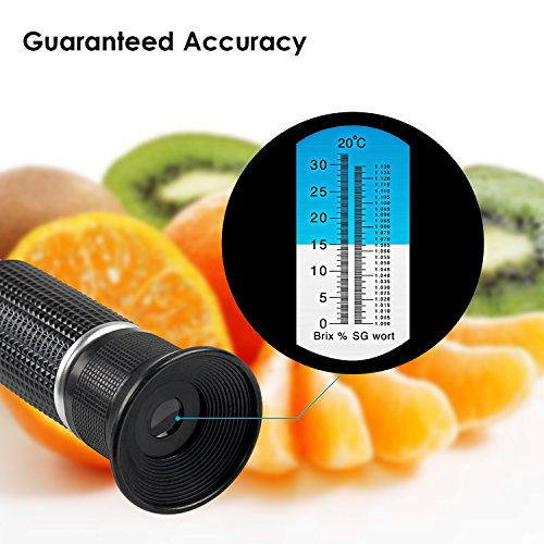 Brix Refractometer for Homebrew Beer Wort, iTavah Dual Scale Automatic Temperature Compensation 0-32% Specific Gravity Hydrometer with ATC by iTavah (Image #4)