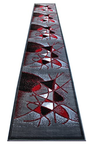 Modern Contemporary Long Runner Area Rug Design Gallery 24 Grey Red Black (32 Inch X 15 Feet 6 Inch) Long Runner (Rug Grey Black Area Red)