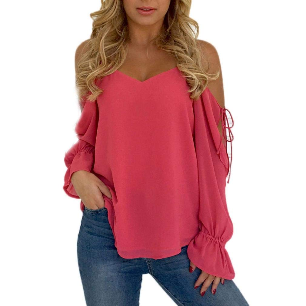 Amazon.com : Clearance!Youngh New Womens Blouses Slash neck Cold Shoulder Sexy Solid Strapless Bandage Loose Long Sleeve Fashion Blouse T Shirt Tops ...