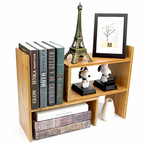 Adjustable Natural Bamboo Desk Bookshelf for Office Home Expandable Tidy Bamboo Desktop Storage Organizer Display Shelf Rack Counter Top Bookcase - Space Saver Natural