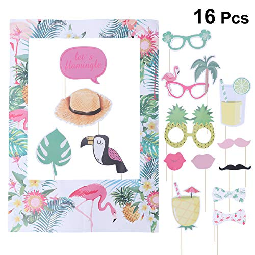 Amosfun Flamingo Photo Booth Props Kit Hawaiian Summer Theme Party DIY Paper Photo Props Decorative Selfie Props for Luau Party - Tropical Photo
