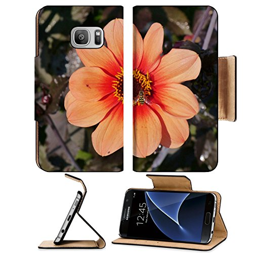 Liili Premium Samsung Galaxy S7 Flip Pu Leather Wallet Case An orange blooming dahlia flower Image ID 23056012