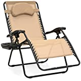 Best Choice Products Oversized Zero Gravity Outdoor Reclining Lounge Patio Chair w/Cup Holder - Tan