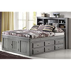 Discovery World Furniture Charcoal Full Bookcase Captain Bed With 12 Drawer storage
