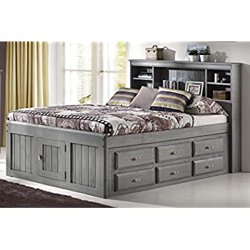 53fbf4e3bba0 Discovery World Furniture Charcoal Full Bookcase Captain Bed with 6 Drawer  Storage on ONE Side