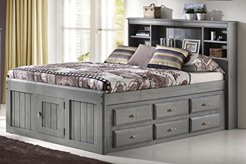 Discovery World Furniture Charcoal Full Bookcase Captain Bed with 6 Drawer Storage on ONE - Sets Bedroom Wood Bookcase