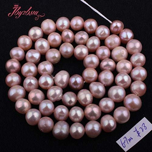 Pukido 5-6, 6-7,7-8,8-9mm Purple Nearround Natural Freshwater Pearl for DIY Necklace Bracelet Jewelry Making Beads 15