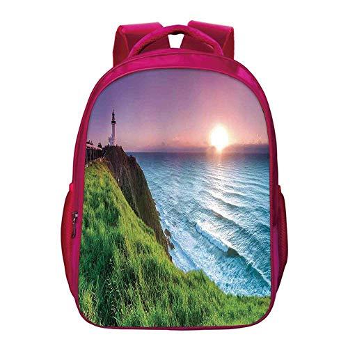 Byron Bay Surf - Lighthouse Decor Kids Bookbag,Byron Bay Lighthouse During Sunrise Nature Hill Dawn Sunbeams Scenic Seashore for Kids Girls,11.8