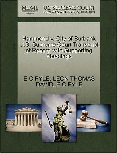 Hammond v  City of Burbank U S  Supreme Court Transcript of