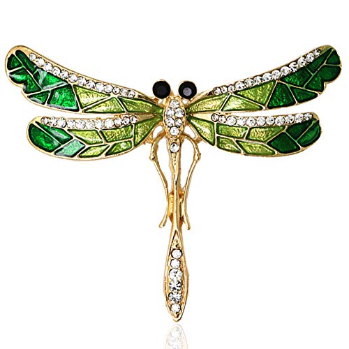 MYANAIL Inlaid Rhinestone Green Dragonfly Brooch Pin Alloy Oil Drop Technology Insect Brooch ()