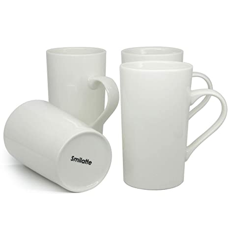 b1ea3036520 Amazon.com: 16 oz Porcelain Coffee Mugs, Smilatte M015 Tall White ...