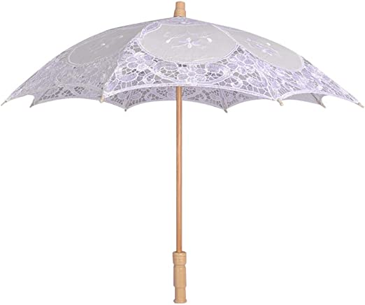 Sun Parasol Umbrella Lace Embroidered Bridal Wedding Dancing Party Photo Show