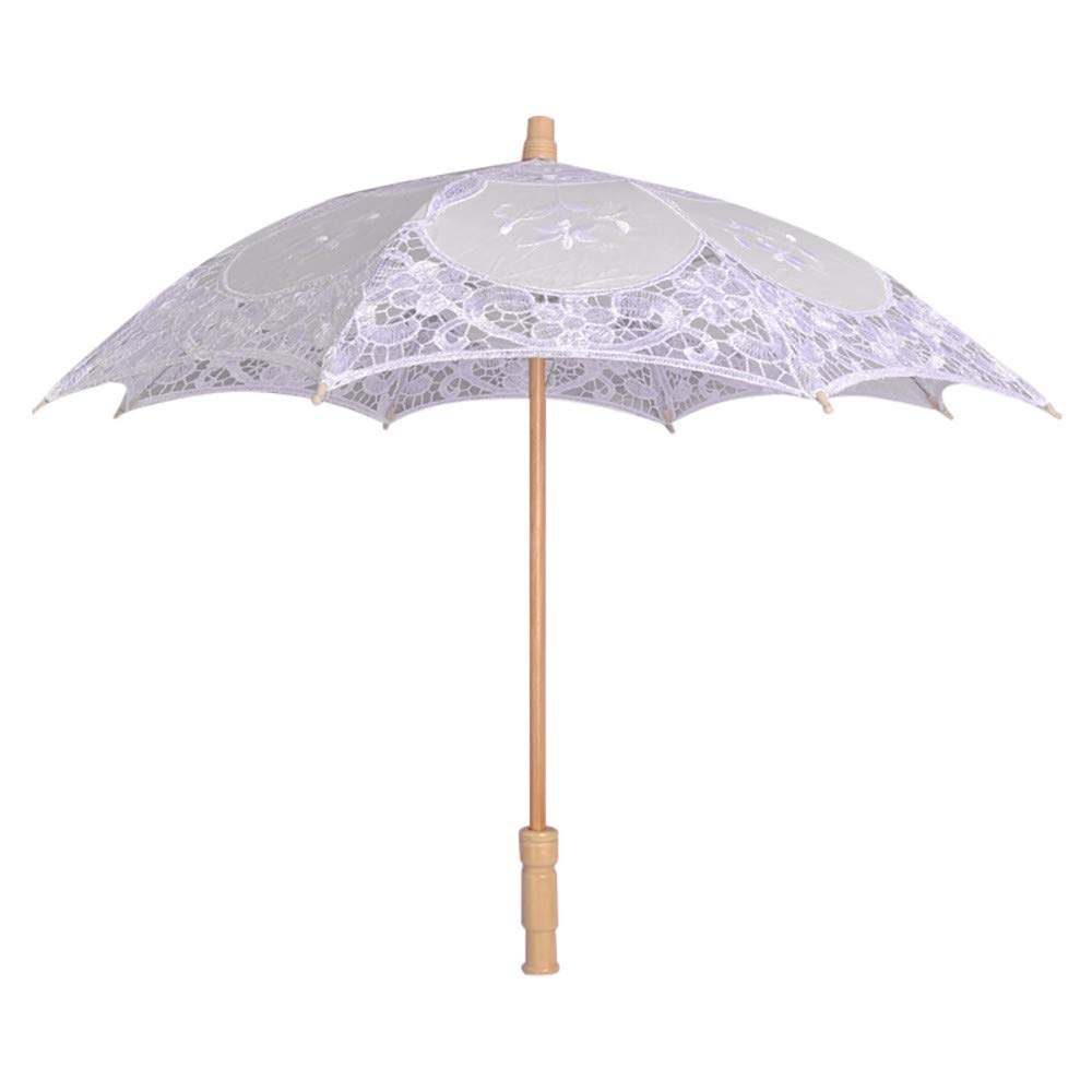 Longay Lace Embroidered Sun Parasol Umbrella Bridal Wedding Dancing Party Photo Show (White)