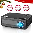 """Projector, WiMiUS P18 3800 Lumens LED Movie Projector Support 1080P 200"""" Display 50,000H"""