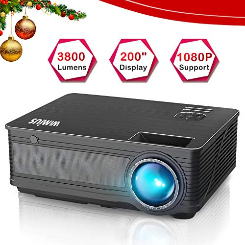 - Projector, WiMiUS P18 3800 Lumens LED Projector Support 1080P 200
