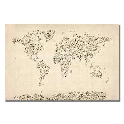 Music Note World Map by Michael Tompsett, 22x32-Inch Canvas Wall Art