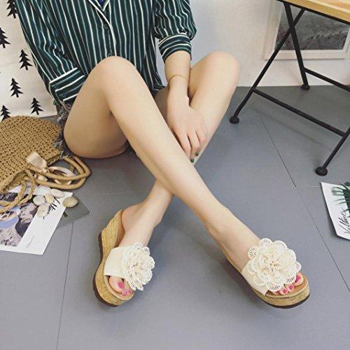 Pantoufles Hauts De Plateforme Talons À Femmes Plates Fleurs Sandales Chaussures Wedges Beige Plage Oyedens Femme Compensees wvqYOY